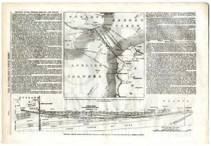 1858 MAP Chart CHANNEL TUNNEL Mining ENGLAND France RAILWAY De Gamond ANTIQUE DIAGRAM